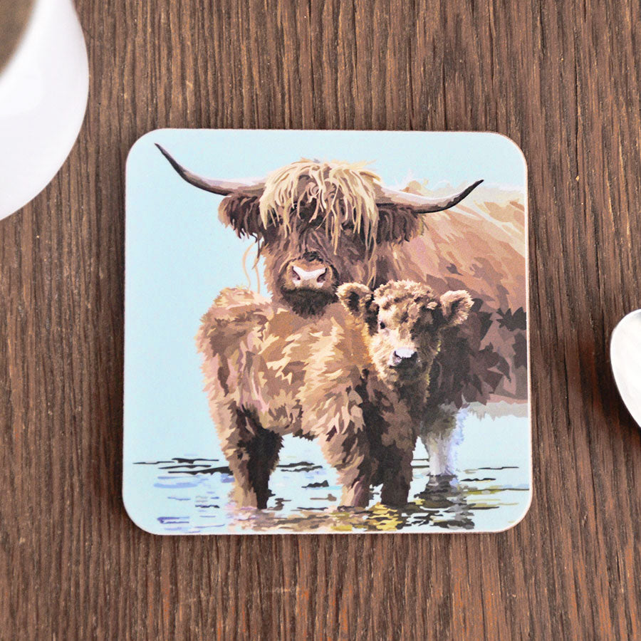 Highland Calf & Cow Coaster