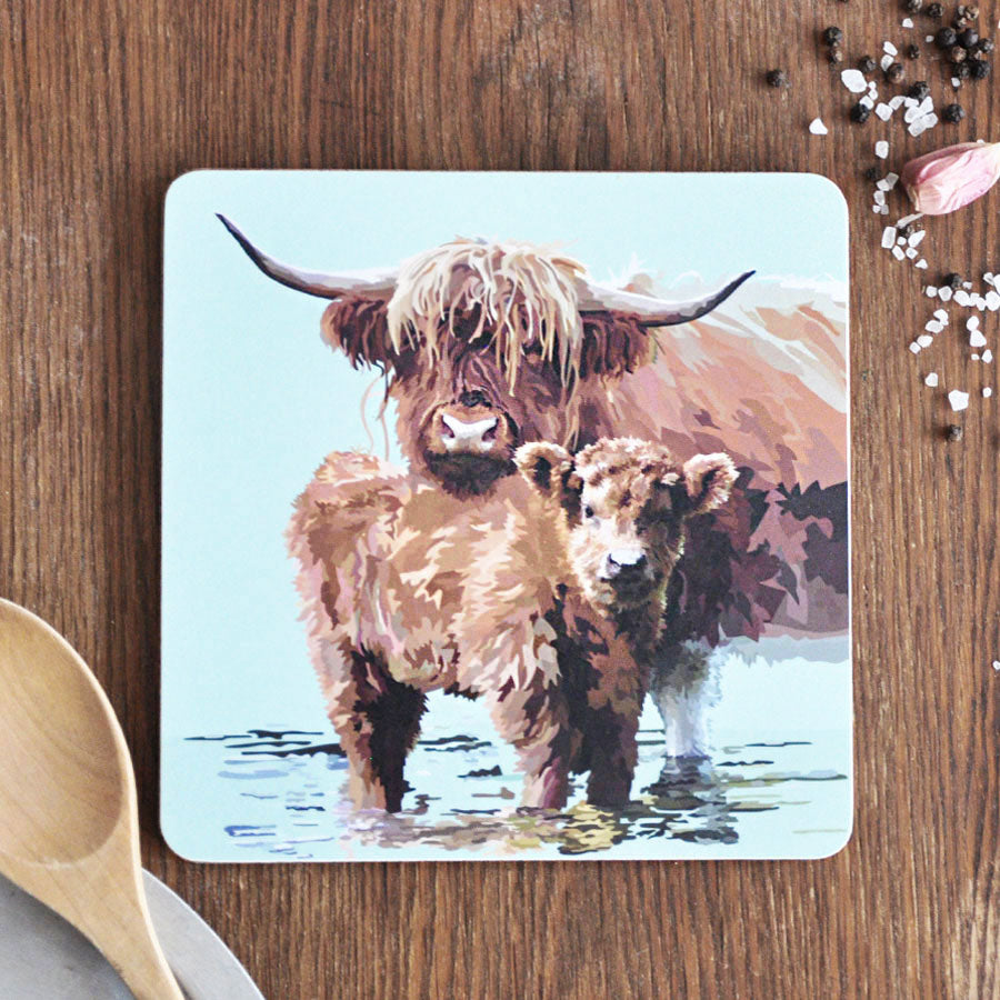 Highland Calf & Cow Pot Stand Placemat