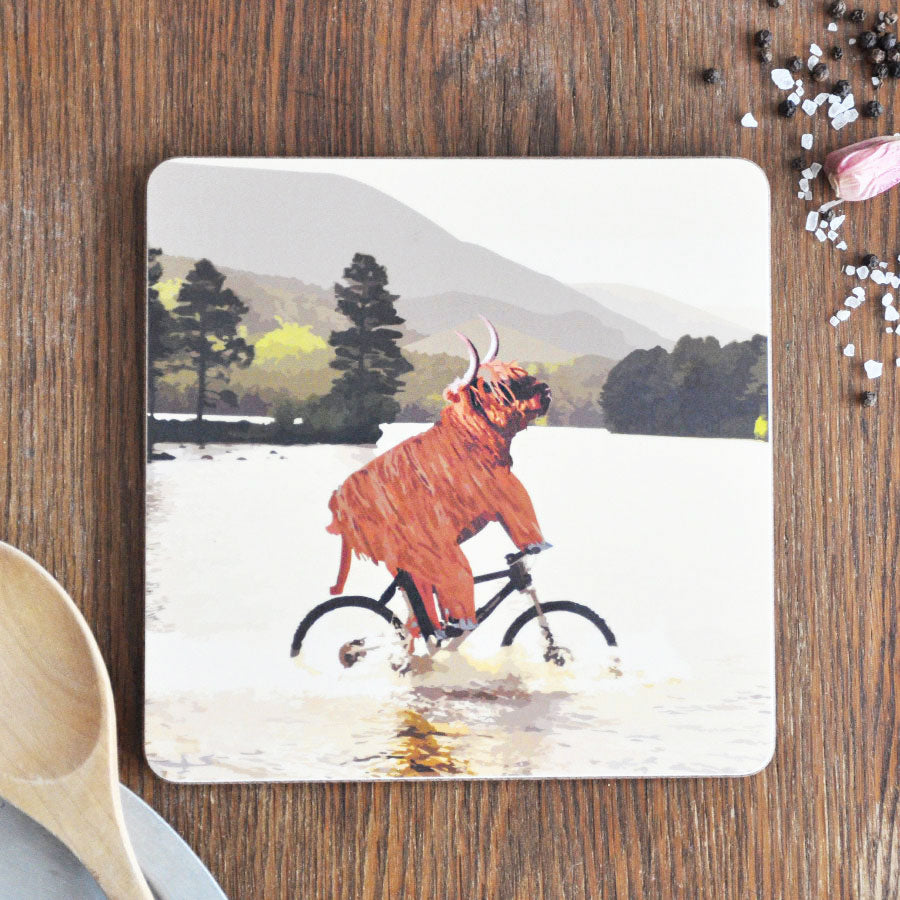 Highland Cow on Bike in Water Pot Stand Placemat