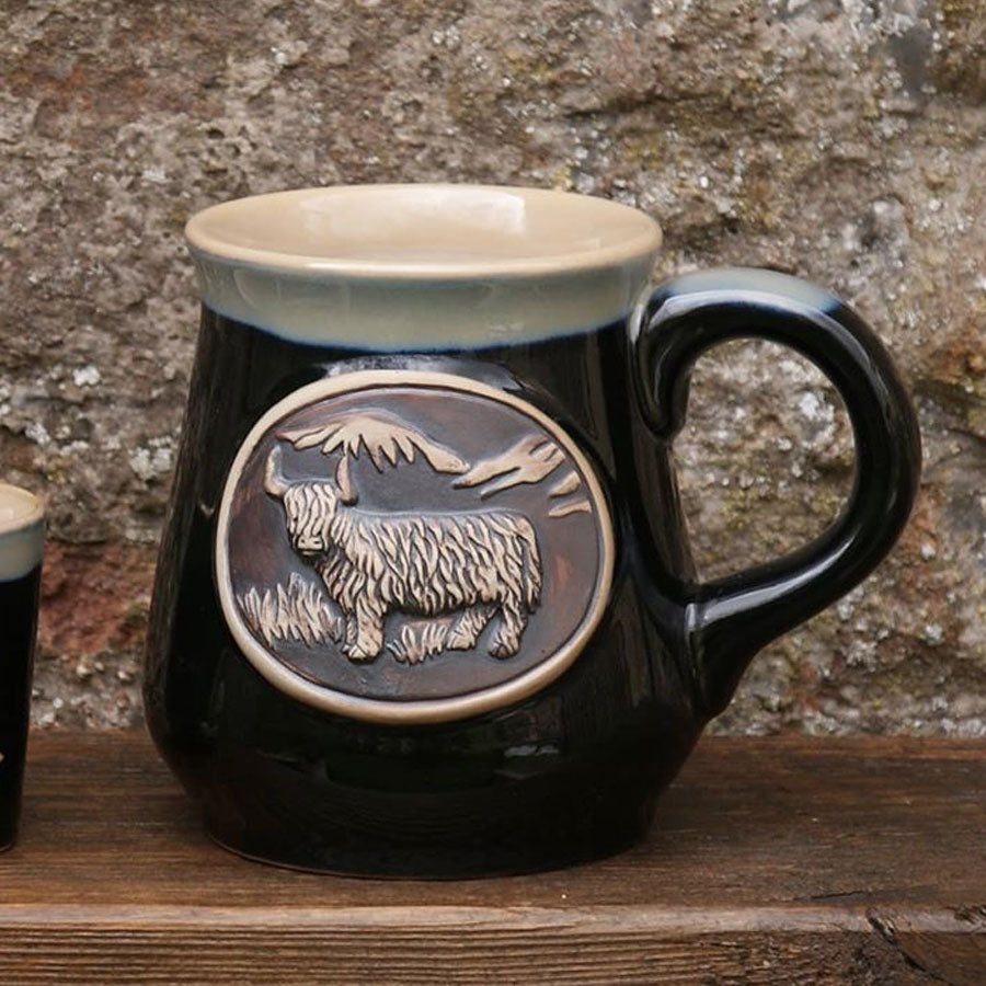 Black Highland Cow Stoneware Mug