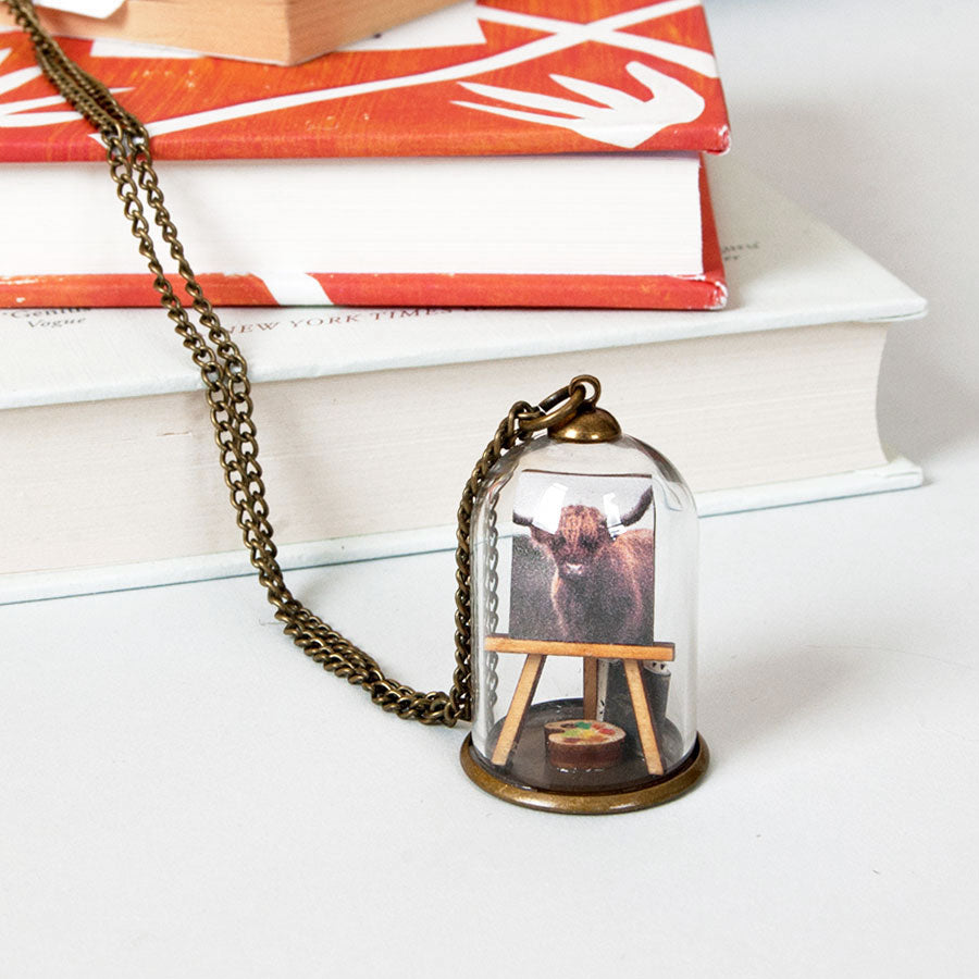 Highland Cow Easel Miniature Dome Pendant Necklace