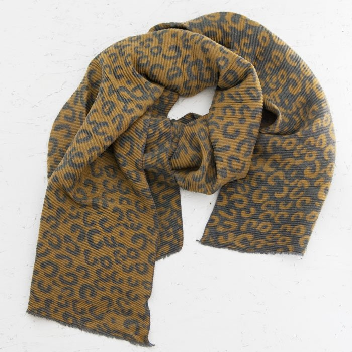 Animal Print Crinkle Scarf | Yellow & Grey