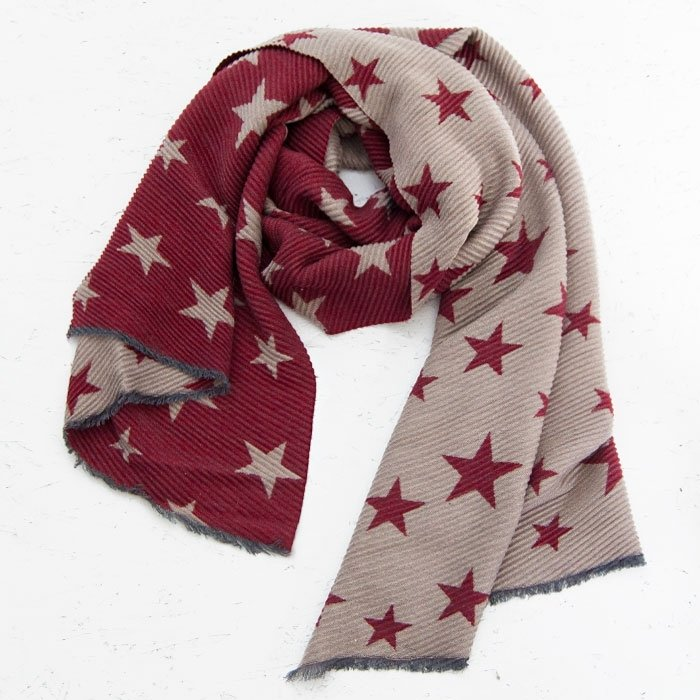 Star Pattern Crinkle Scarf | Red & Grey