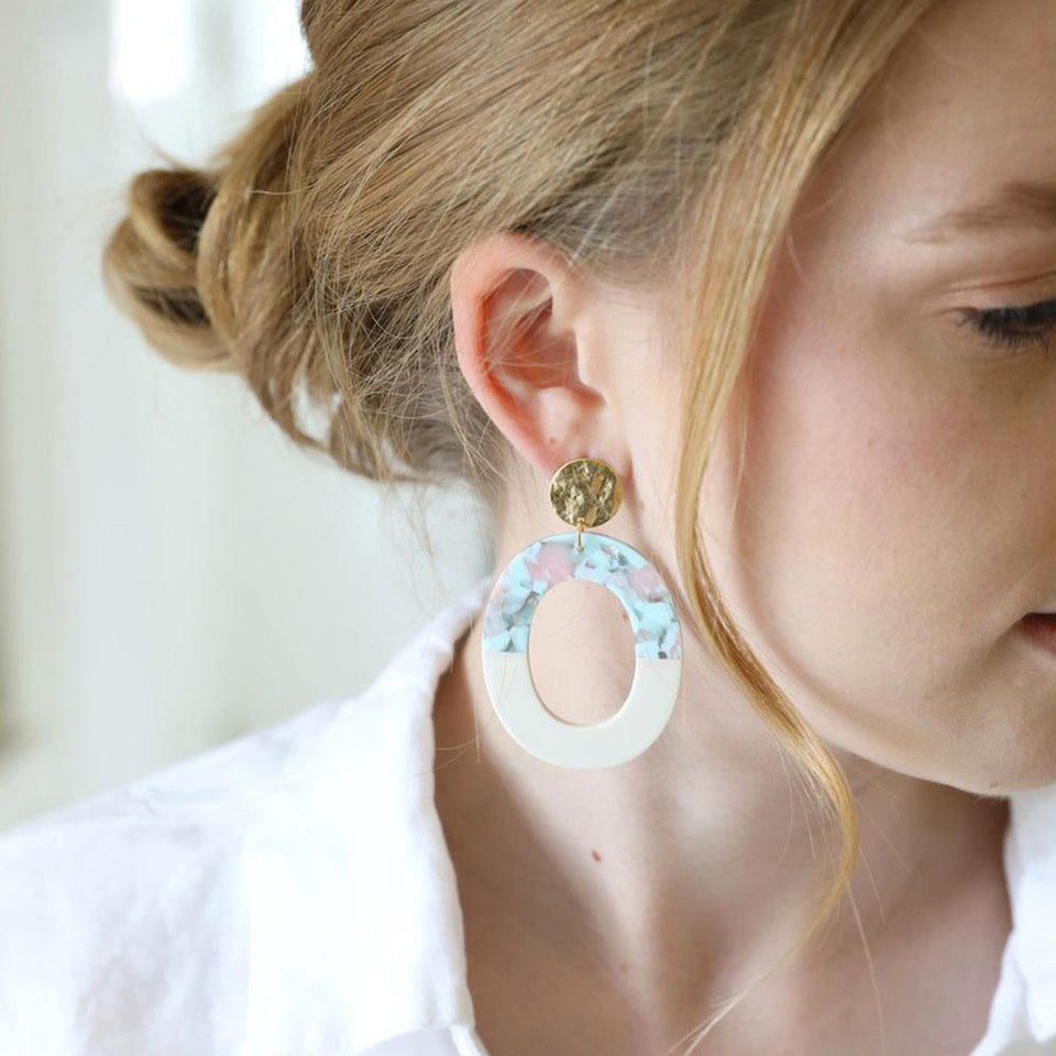 Statement Blue Confetti Oval Drop Earrings