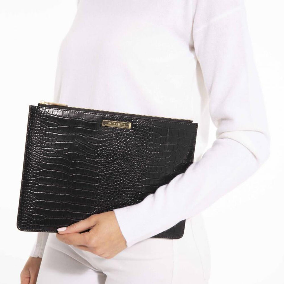 Black Embossed Croc Perfect Pouch