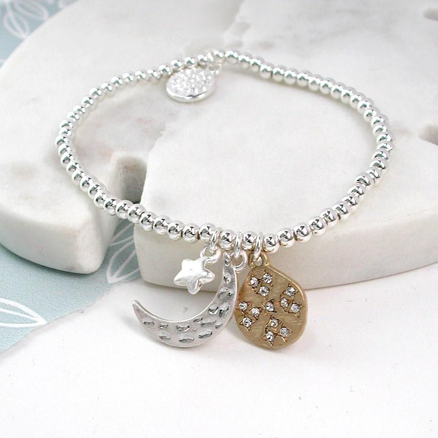 Crescent Moon Star and Disc Bracelet