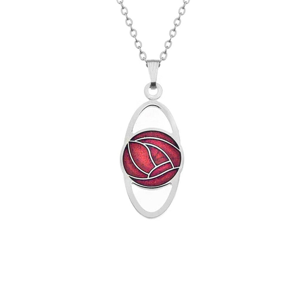 Mackintosh Red Rose Oval Silver Pendant Necklace