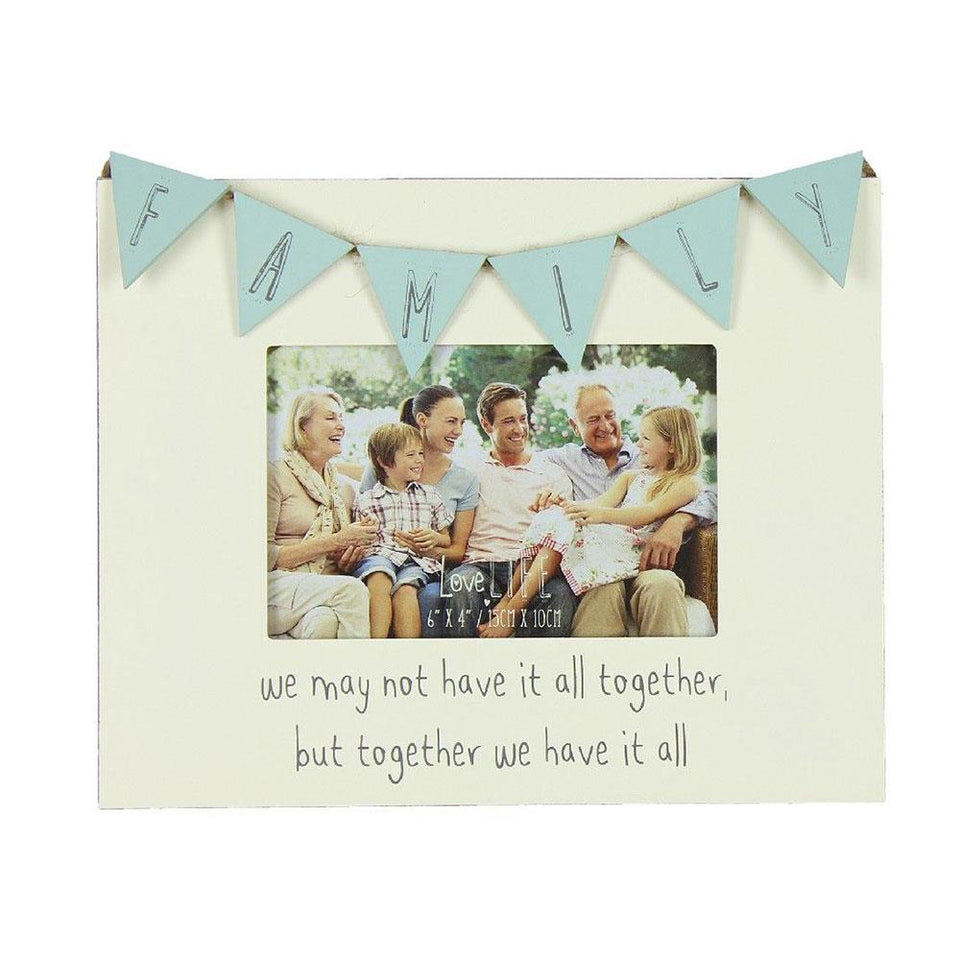 Family Bunting Pastel Coloured Wooden Frame