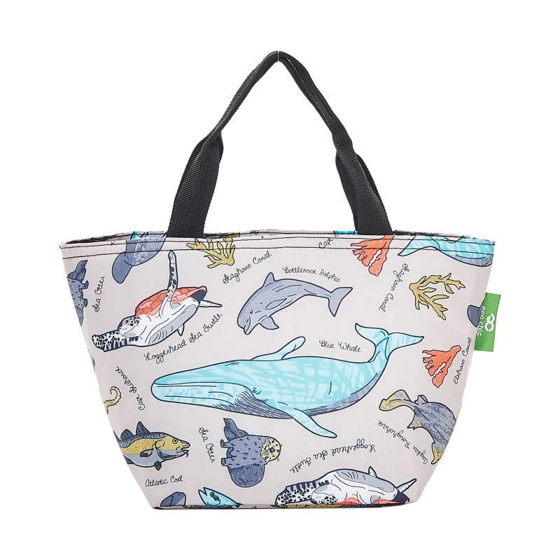 Grey Sea Creatures Lunch Bag