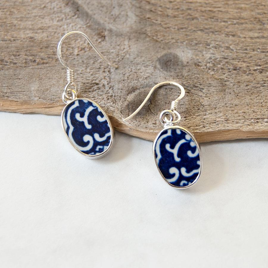 Vintage Porcelain Oval Earrings