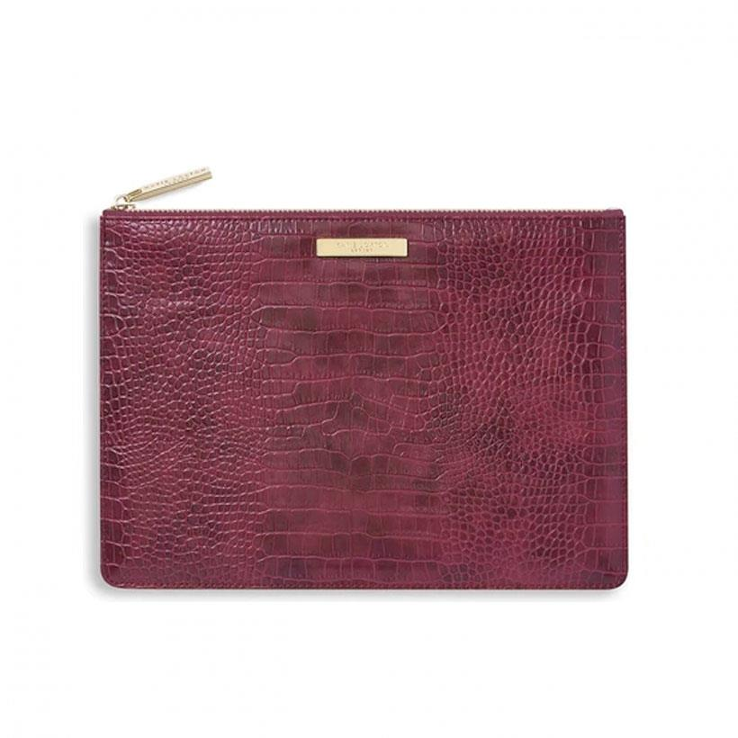 Celine Faux Croc Perfect Pouch in Burgundy