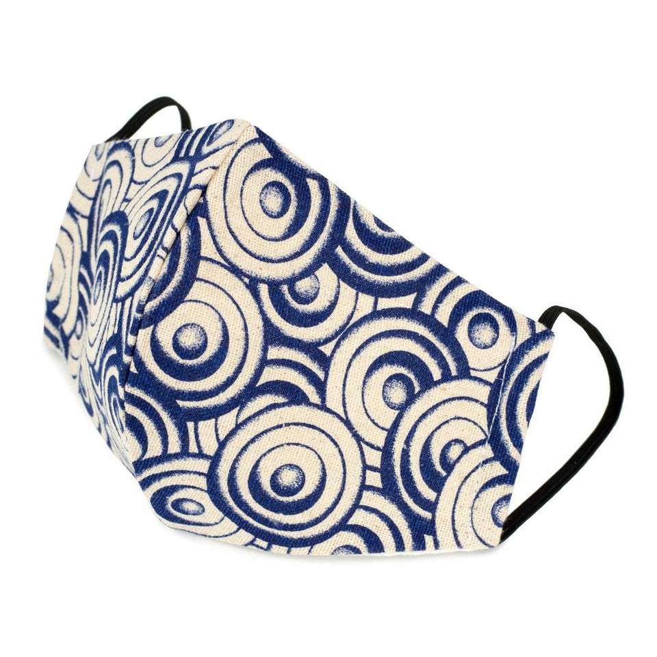 Indigo Japanese Disc Blue Cotton Face Mask