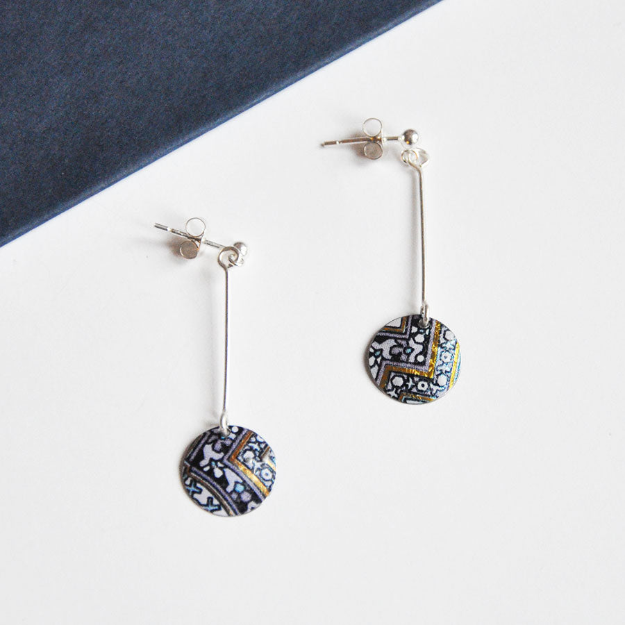 Blue Damask Disc on Ball Stud Earrings