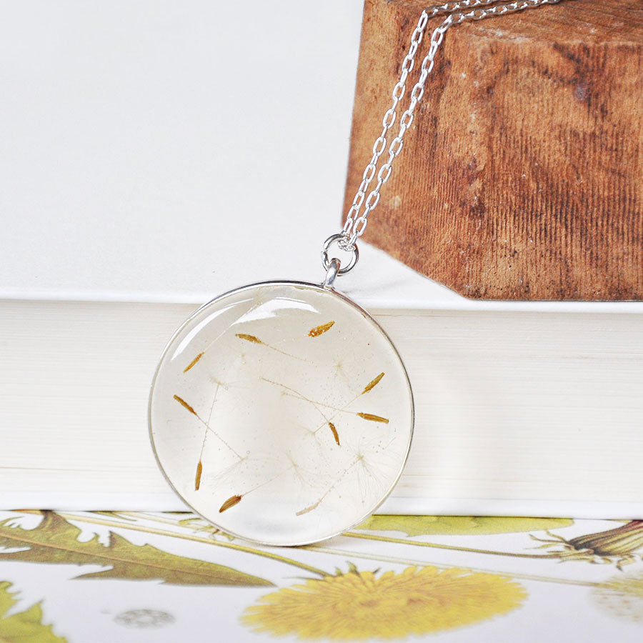 Dandelion Open Locket Silver Pendant Necklace