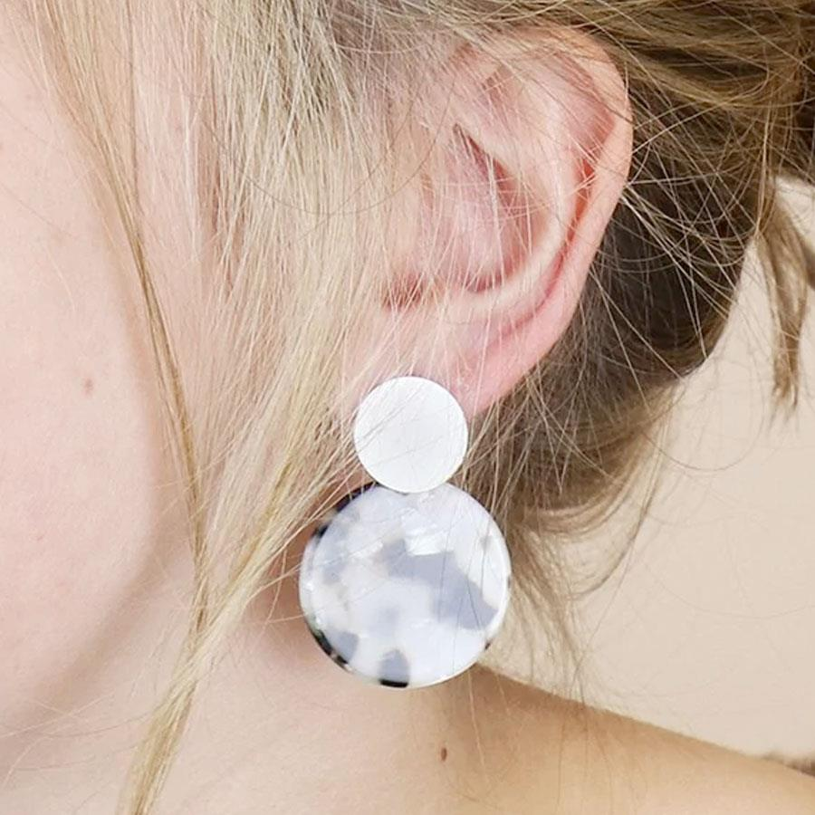 Grey Resin Double Disc Earrings