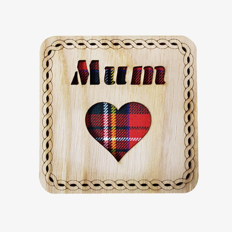 Mum Square Tartan & Wood Coaster