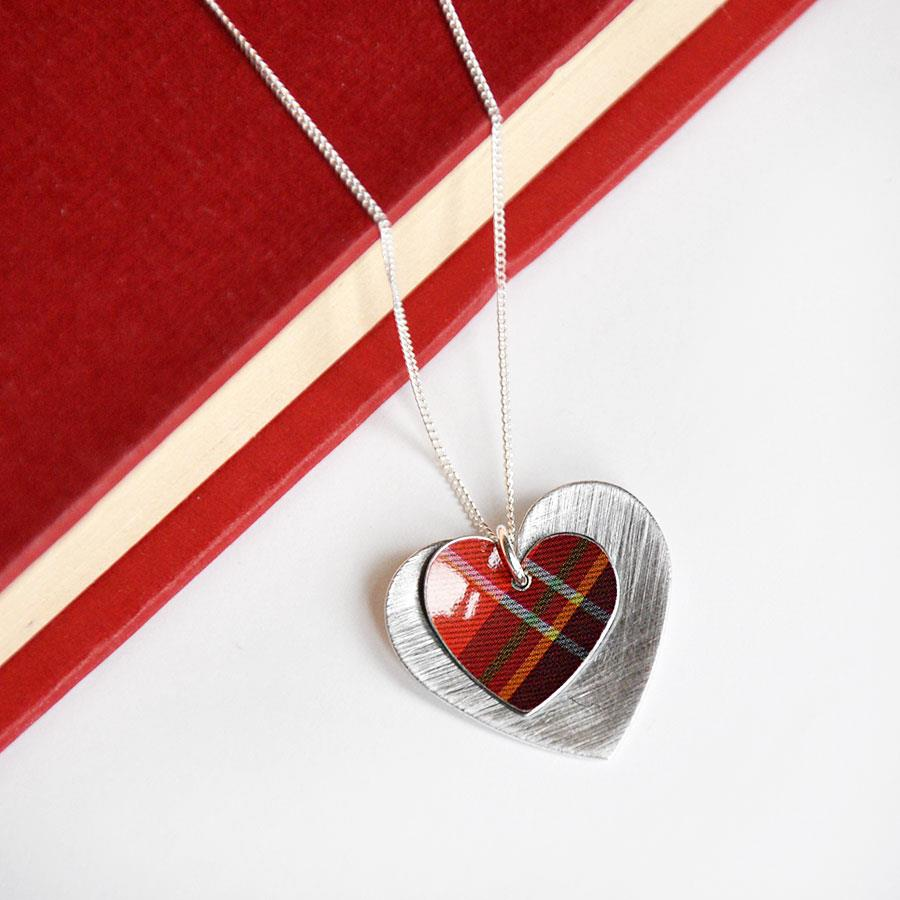 Red Tartan Double Heart Pendant Necklace