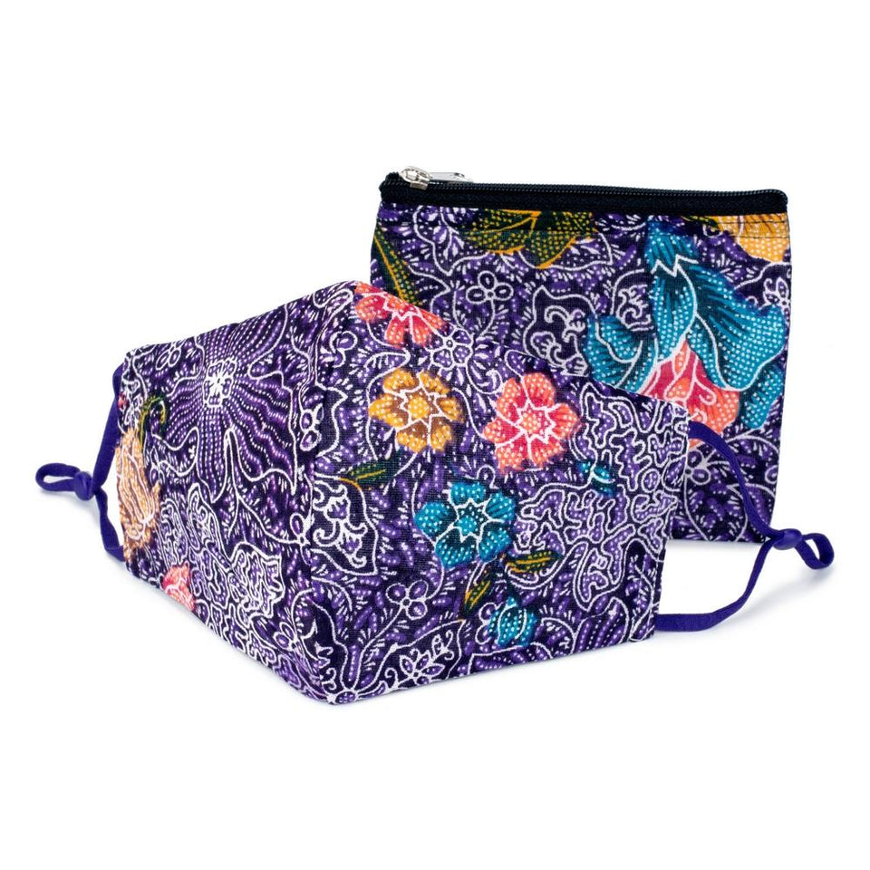Deep Purple Batik Face Mask & Purse Set