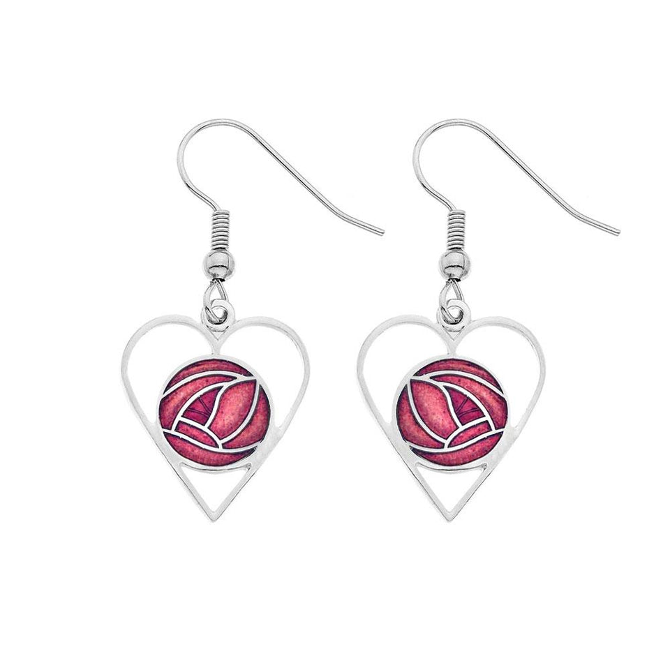 Mackintosh Red Cut Out Heart Glass Enamel Earrings