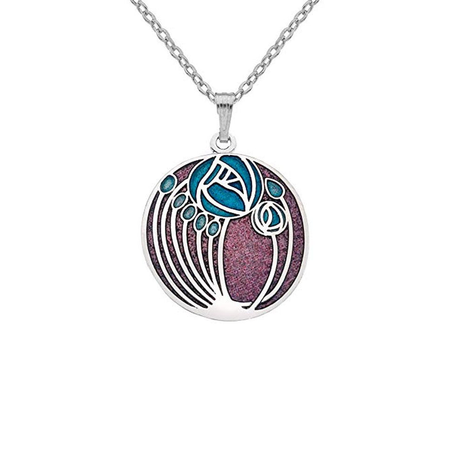 Mackintosh Roses & Buds Round Silver Pendant Necklace