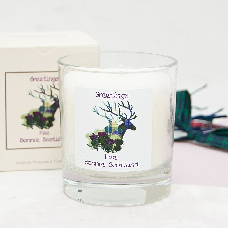 Greetings Fae Scotland Stag Jar Candle