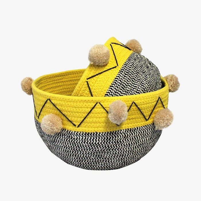 Yellow Geo Patterned Round Baskets | Set of 2