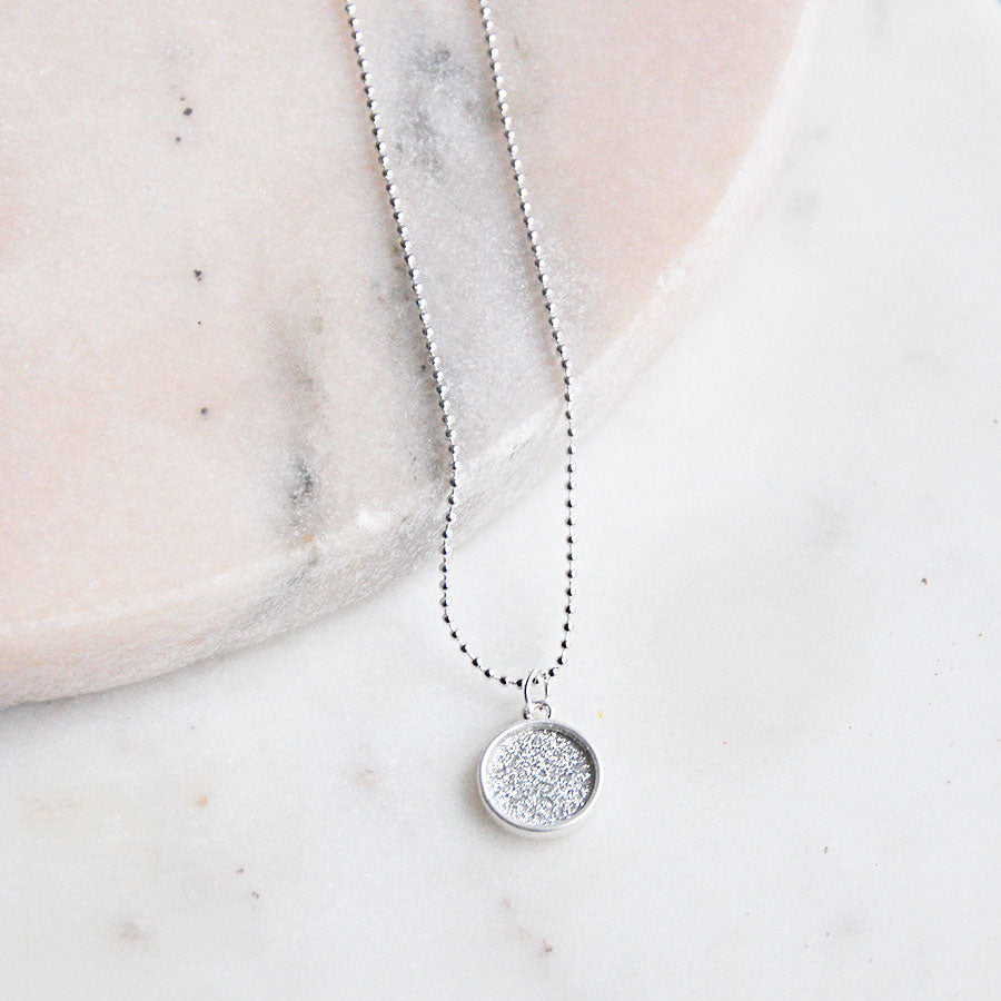 Glitter Disc Pendant Necklace