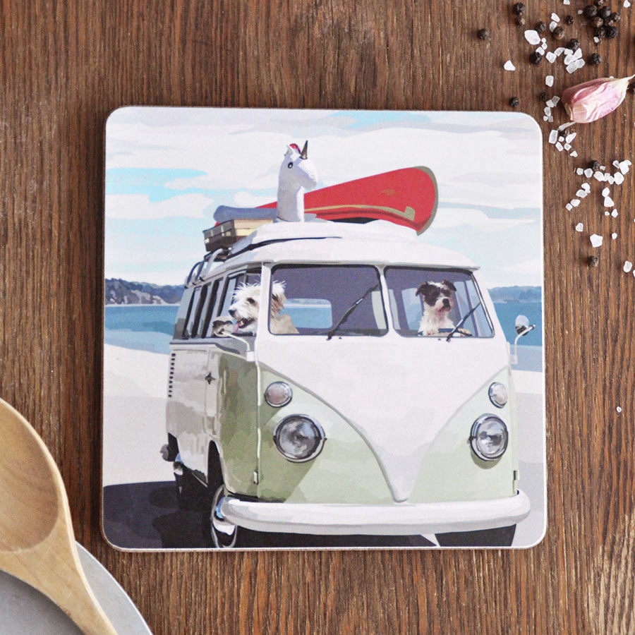 Camper Van & Dogs Pot Stand Placemat