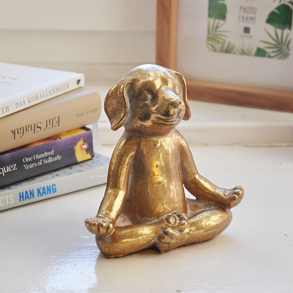 Gold Yoga Dog Decoration