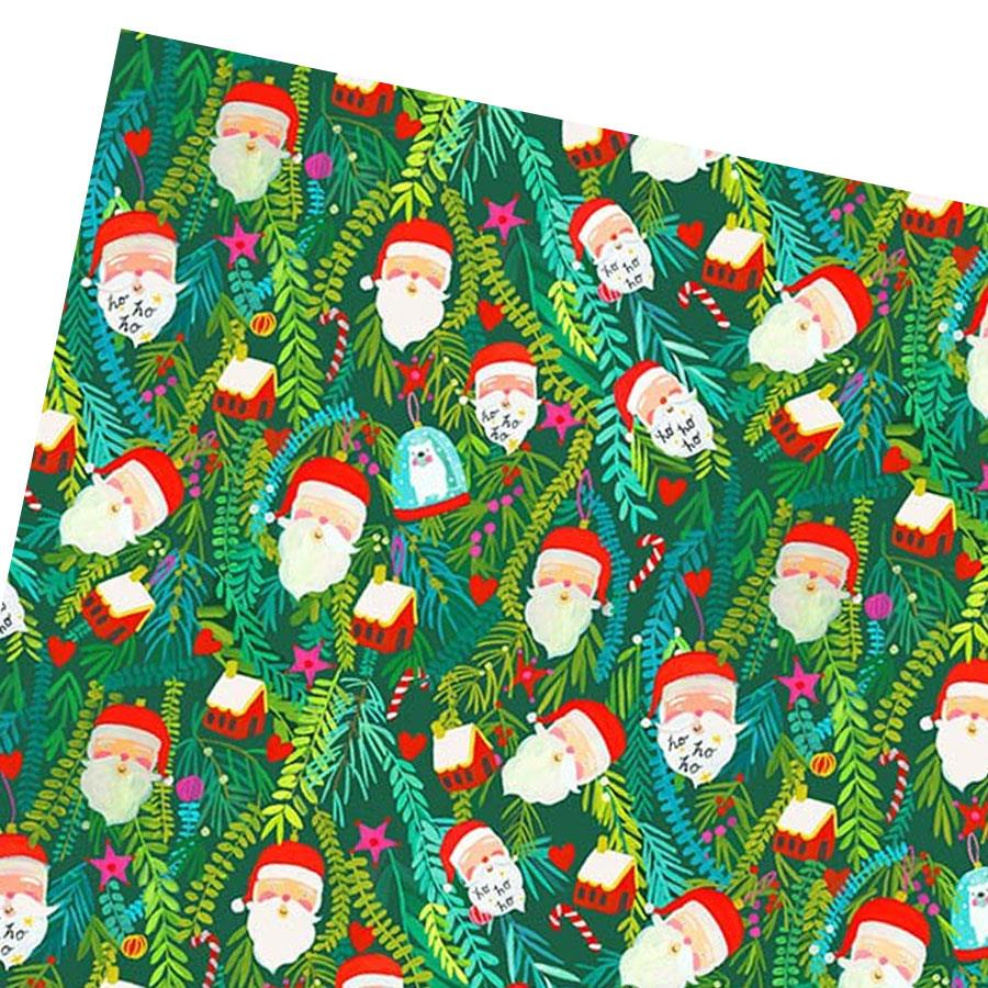 Santa Green Forest Gift Wrap Sheet