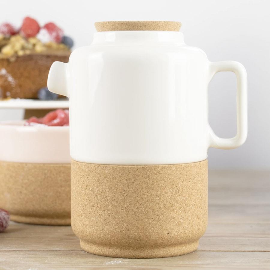 Cream Ceramic & Cork Teapot For Two