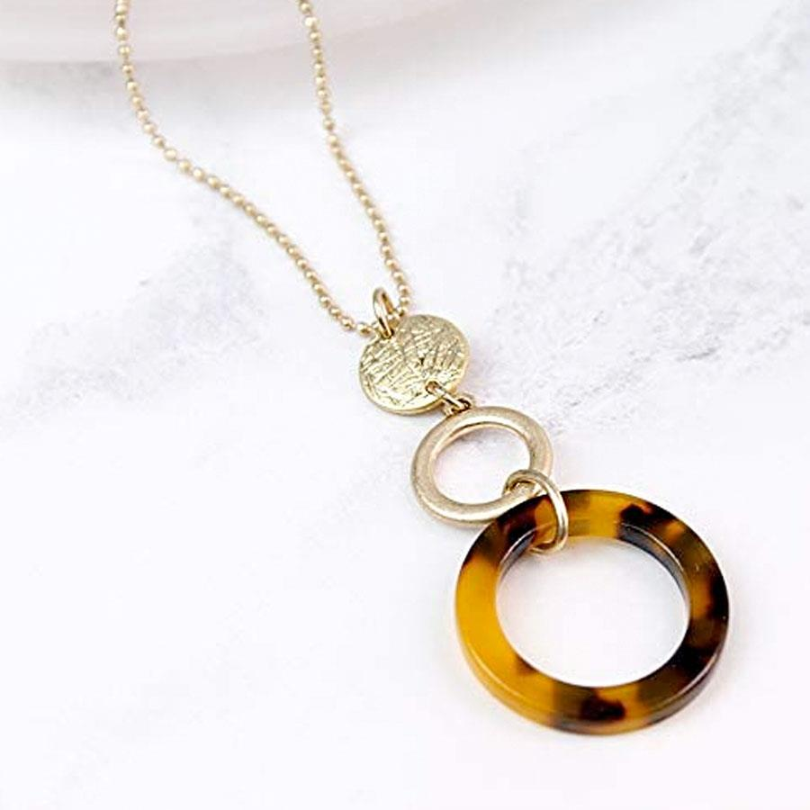 Worn Gold Disc and Resin Hoop Necklace