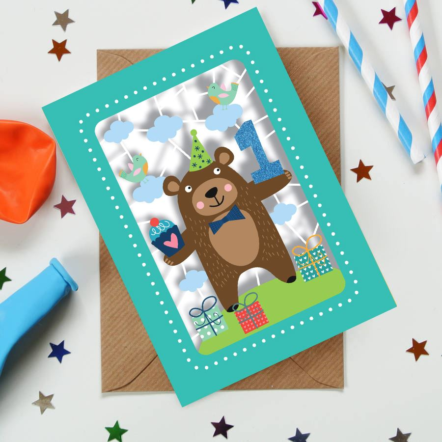 Bear 1st Kids Age Card