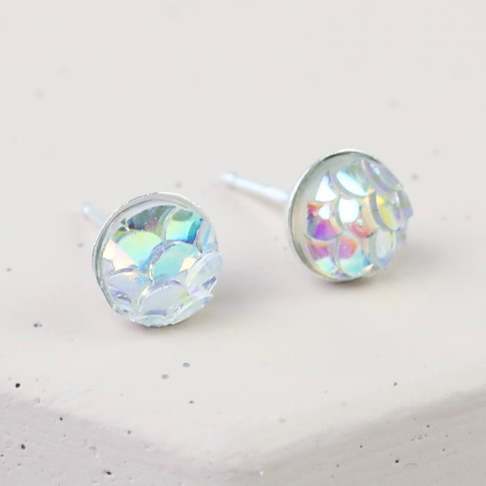 Irridescant Mermaid Effect Stud Earrings | Sterling Silver