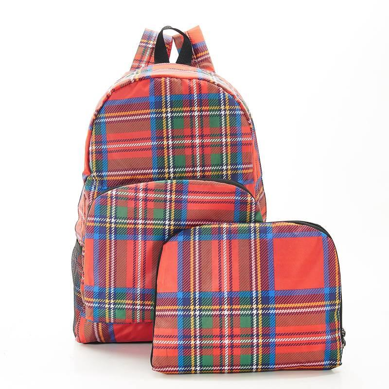 Red Tartan Foldable Backpack