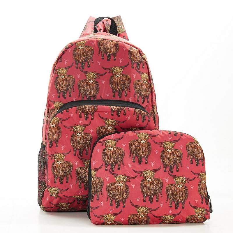 Red Highland Cow Foldable Backpack
