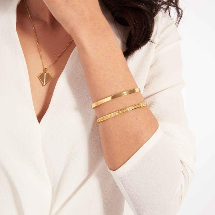 Aztek Double Bar Yellow Gold Bangle