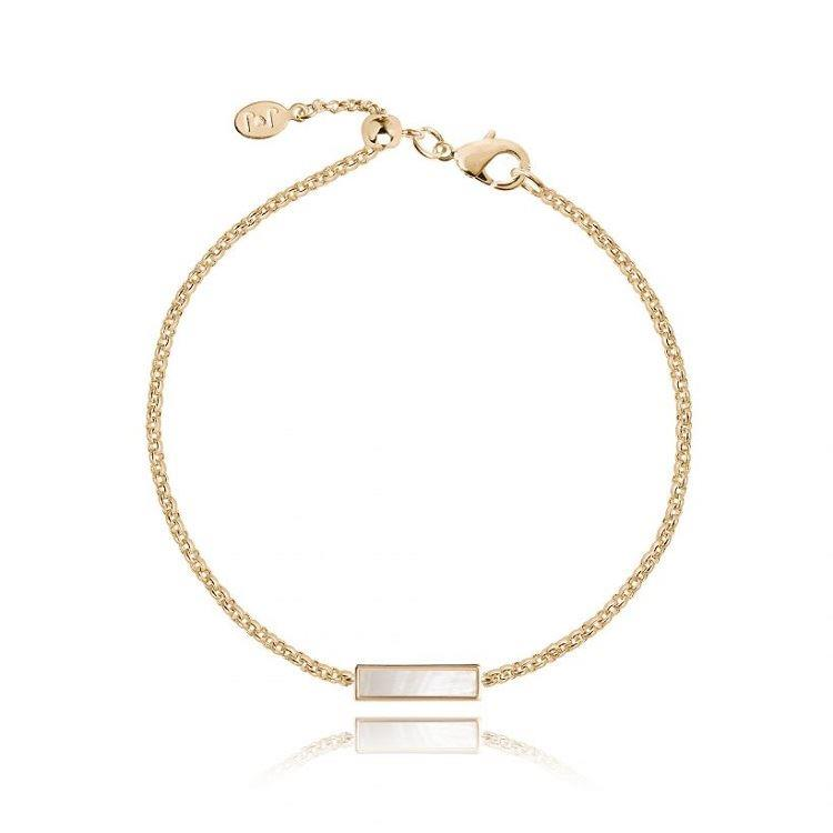 Shona Shell Bar Bracelet in Yellow Gold