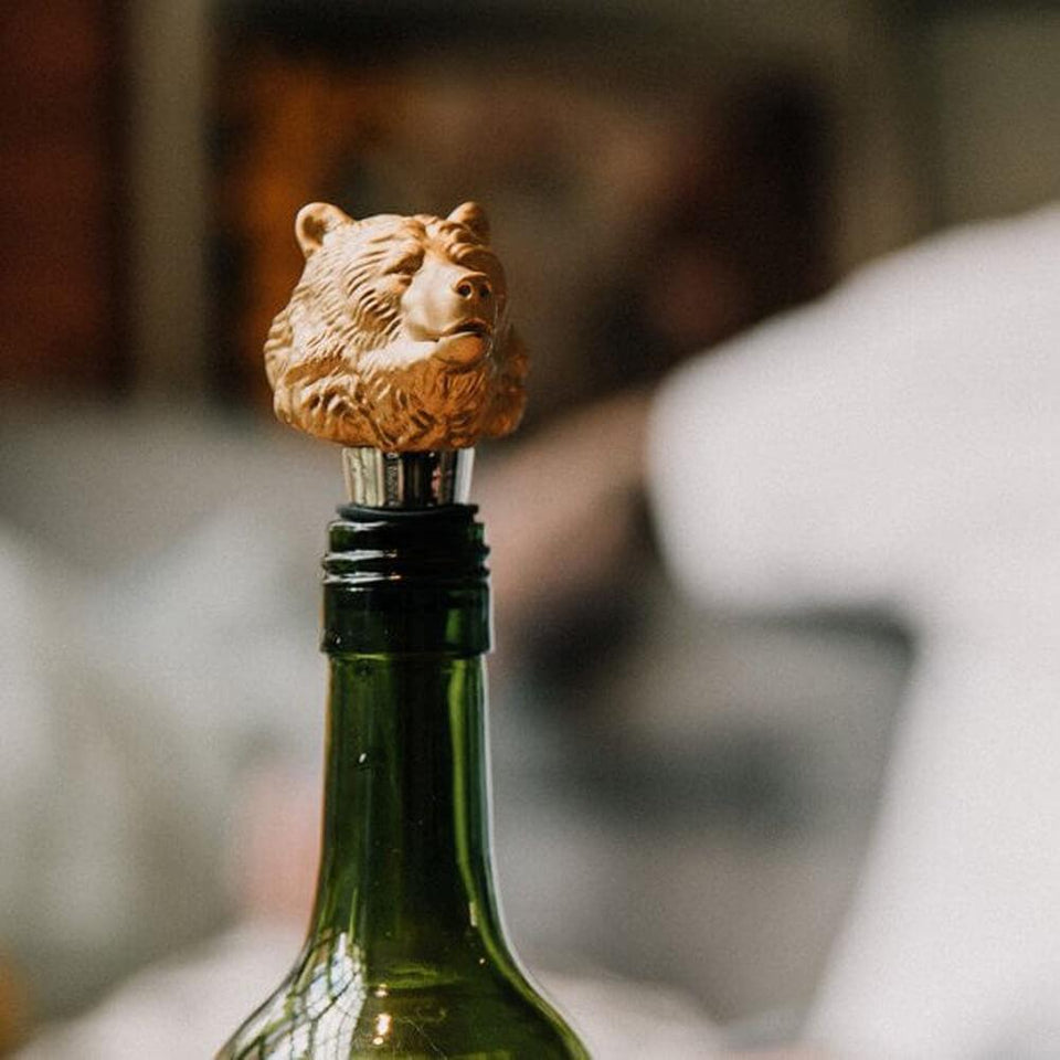 Gold Finish Bear Head Bottle Stopper