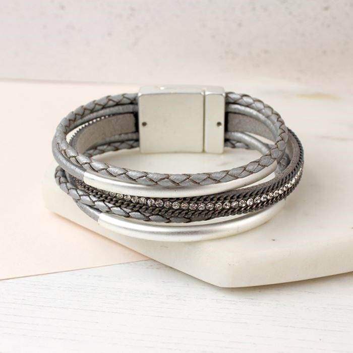 Matt Silver and Leather Bangle