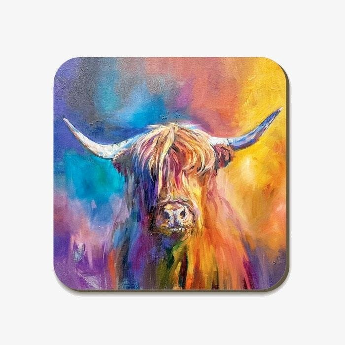 Harris Highland Cow Square Coaster