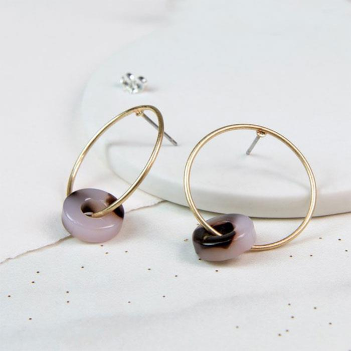 Worn Gold Acrylic Disc Hoop Earrings