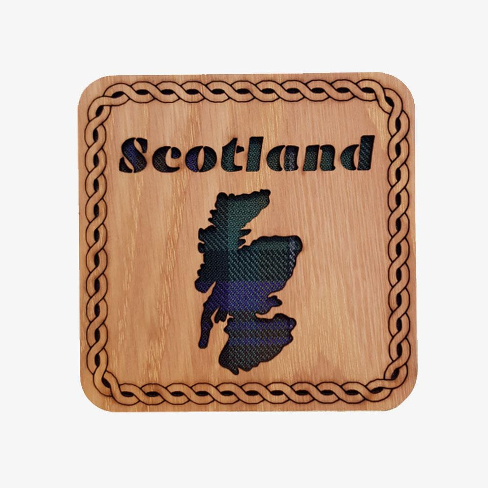 Scotland Map Square Wooden Coaster