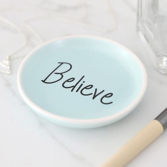 Blue Believe Ceramic Trinket Dish