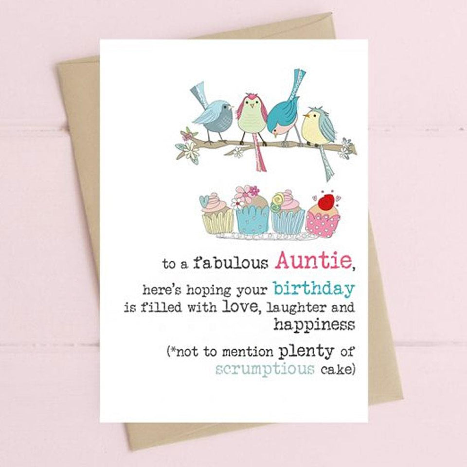 Auntie Birthday With Cake Card