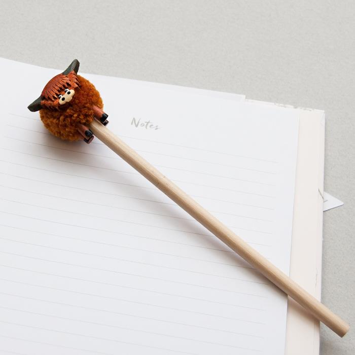 Highland Cow Pom Pom Pencil