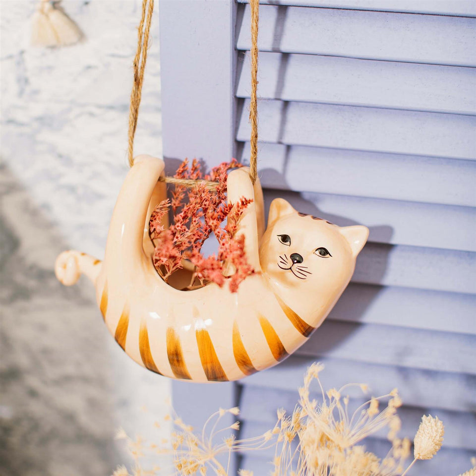 Cat Ceramic Hanging Planter