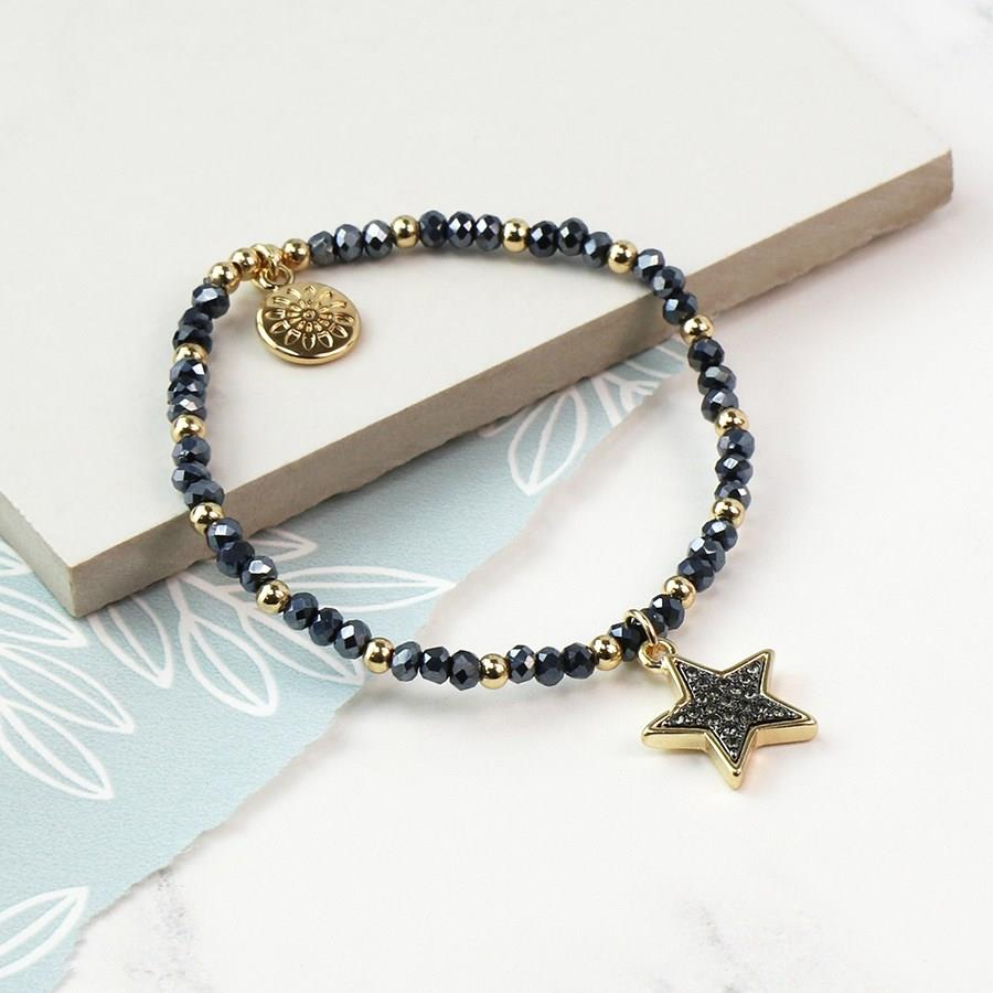 Crystal Star with Black Enamel Crystals Bracelet