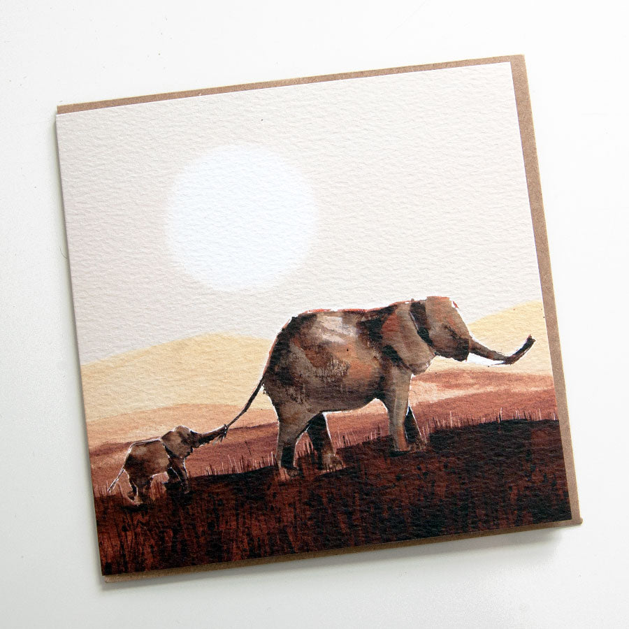 Elephant Sunset Card