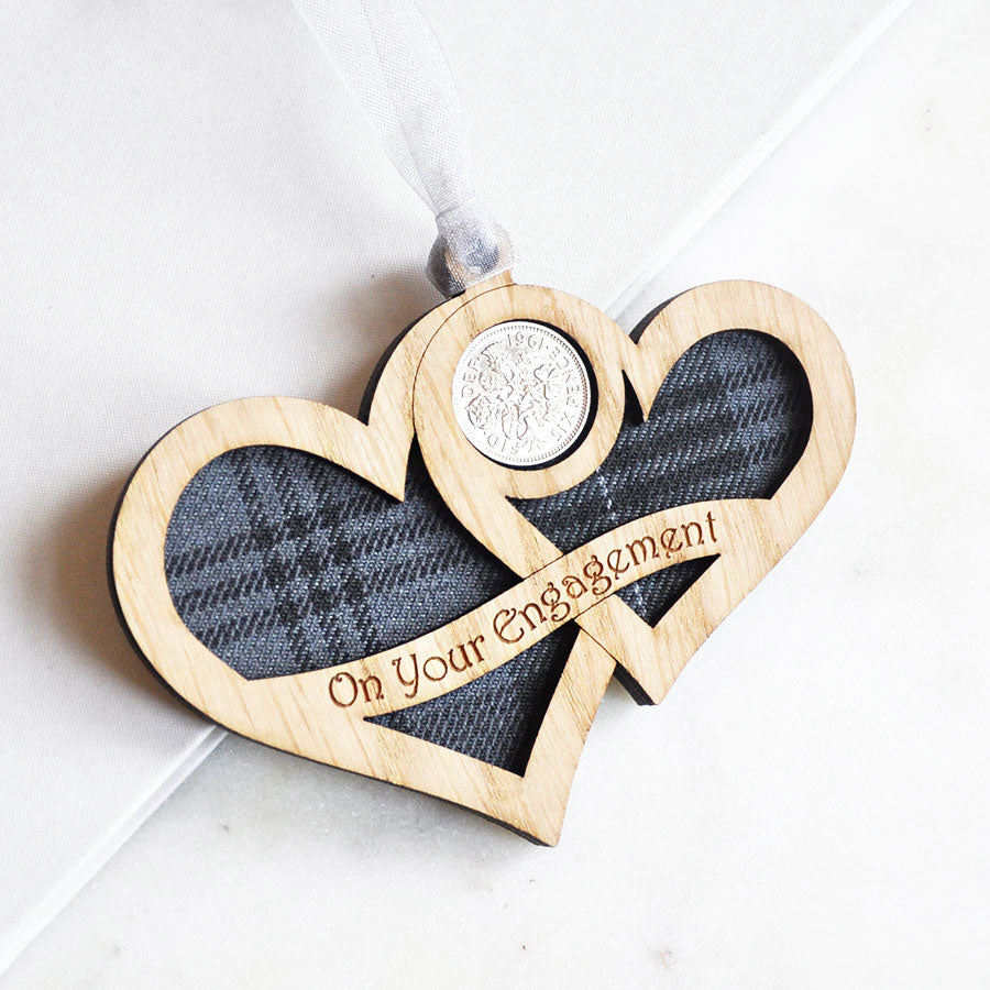 Engagement Hearts Lucky Sixpence Hanging Decoration
